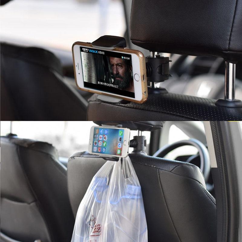Soporte para teléfono móvil de coche Lazy, soporte para teléfono móvil giratorio de 360 grados, soporte para reposacabezas para asiento trasero de coche, accesorios para coche