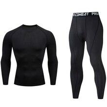 Men's Running Set Gym jogging  thermo underwear xxxxl skins Compression Fitness MMA rashgard male Qu