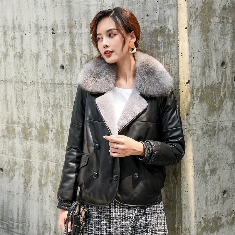 Cuello de piel de zorro Real de cuero genuino chaqueta de plumón de pato de las mujeres de invierno abrigo mujer coreano 100% de piel de oveja de abrigo Tops Hiver LW2603