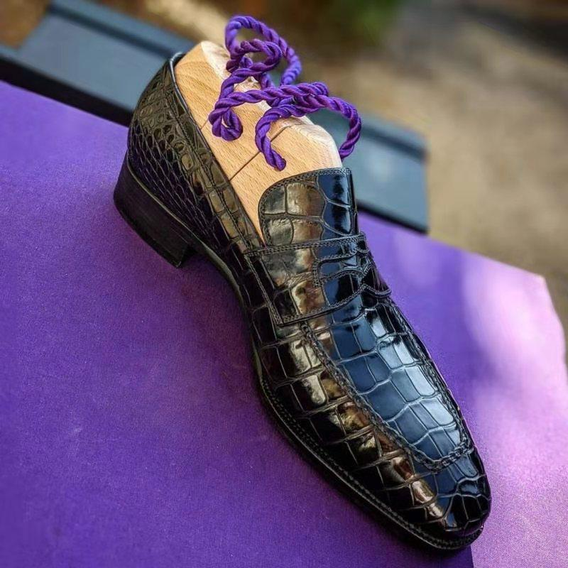 Men's pu crocodile pattern leather shoes low-heel dress shoes spring lazy loafers black men's casual