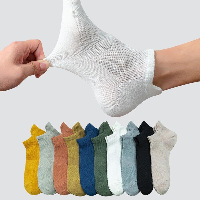 5 زوج/مجموعة النساء الرجال القطن الجوارب نمط جديد لينة تنفس الصلبة الملونة بسيطة الأزياء قصيرة الكاحل الشارع للجنسين طاقم جورب