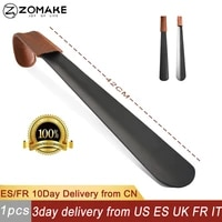 zomake 42cm 16inch long handle shoe horn stainess steel shoe spoon with leather cover shoe horn helper easy wear ship from us eu