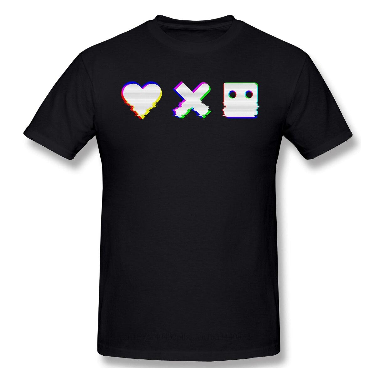 Ropa para hombre, amor a la muerte y Robots Sonny Jenifer, camiseta de animación de fantasía, camiseta roja, efecto Glitch, moda para hombres, manga corta