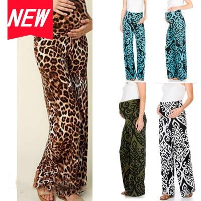 Pantalon de maternité droit large pour femmes, imprimé léopard, taille élastique, pantalon ample, jambes larges