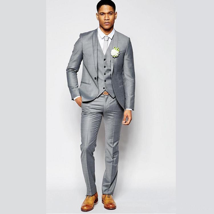 Светильник-серые Свадебные смокинги с отложным воротником, одежда для жениха на одной пуговице, официальные костюмы-блейзеры для лучших му...