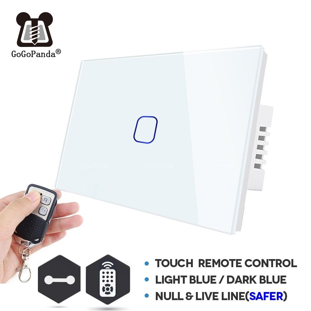 Interruptor táctil inteligente para automatización de hogar a prueba de agua ignífugo con Controlador de luz de pared tipo mando a distancia de EUA 1 Gang 2 3Gange