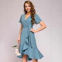 Kadın Vintage Ruffled Sashes A-line parti elbise kısa kollu seksi V necl katı zarif rahat elbise 2020 yaz moda elbise