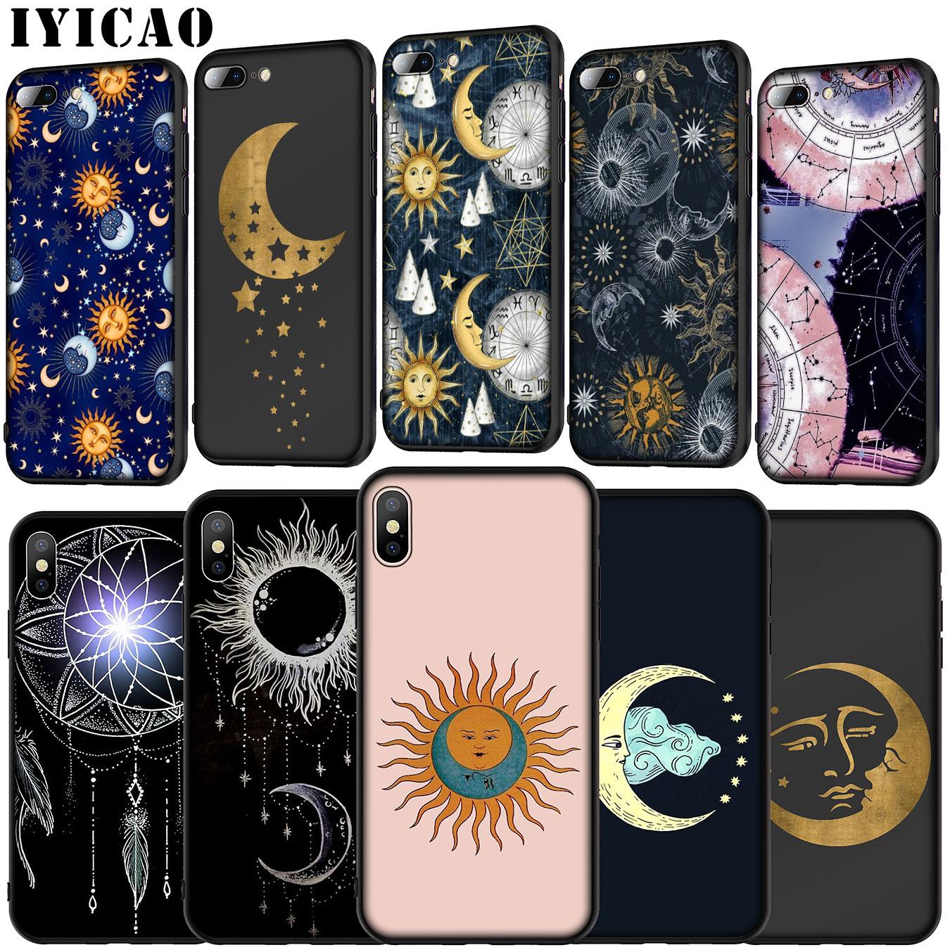 Iyicao ouro lua e sol estético macio silicone caso para huawei p30 p20 pro p10 p9 lite mini 2017 2016 p inteligente z plus 2019