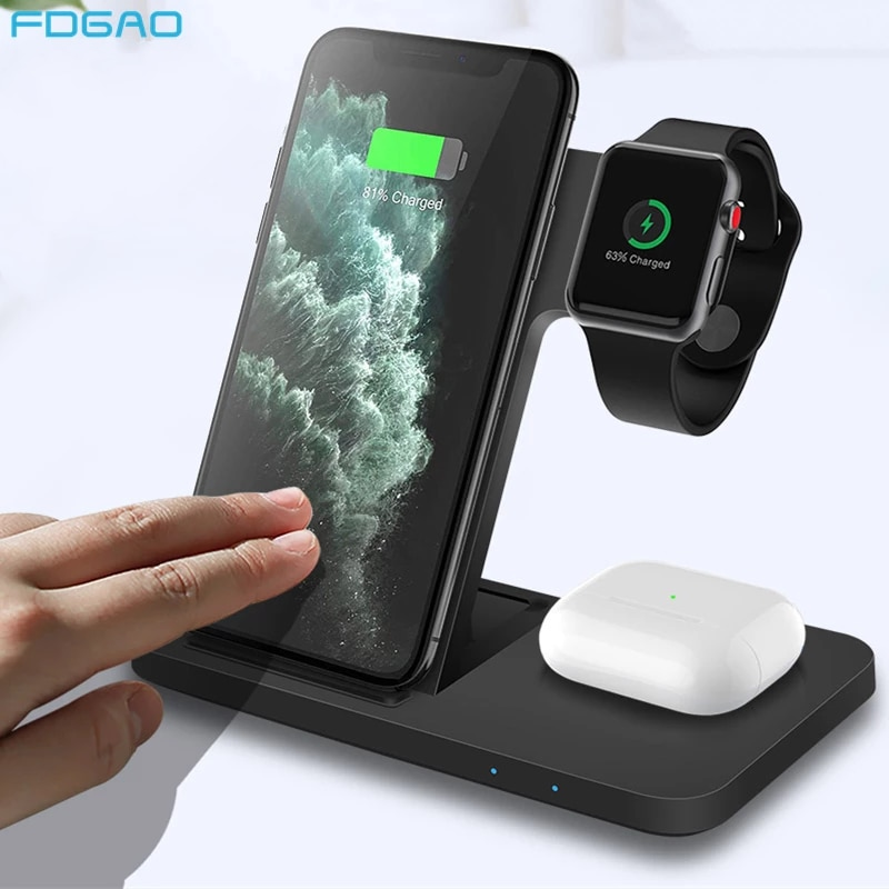 15W 3 in 1 Qi Wireless Charger for iPhone 12 11 Pro XS XR X 8 Fast Charging Dock Station For Apple Watch 6 5 4 3 2 AirPods Pro