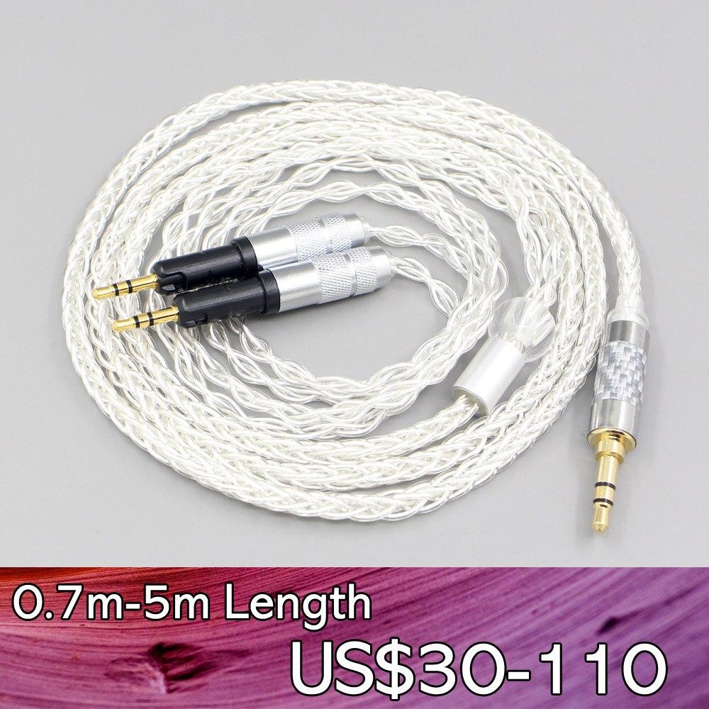LN007468 4.4 مللي متر 6.35 مللي متر xlr 2.5 مللي متر 8 كور شفاف الفضة مطلي مضفر سماعة أذن كابل للصوت-تكنيكا ATH-R70X