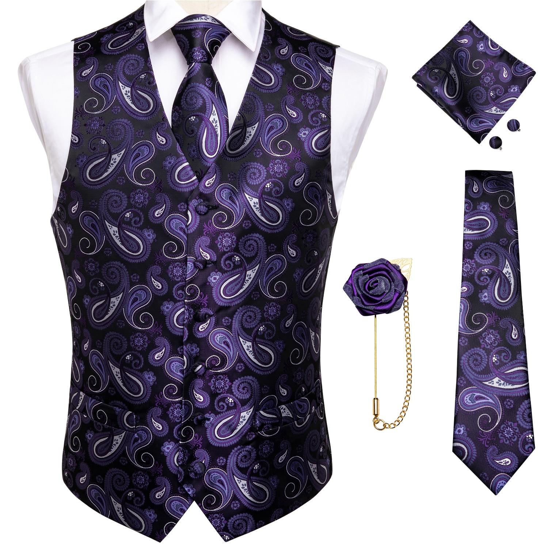 Мужской костюм, жилет с галстуком, жилет для свадебной вечеринки, жилет для смокинга, повседневная куртка без рукавов, Шелковый платок с гал...