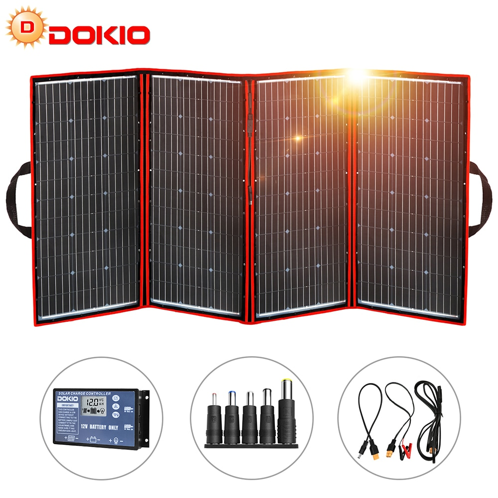Складная солнечная панель Dokio, гибкая портативная солнечная панель 300 Вт 18 в, Китай, для кемпинга/лодки/RV/путешествий/дома/автомобиля