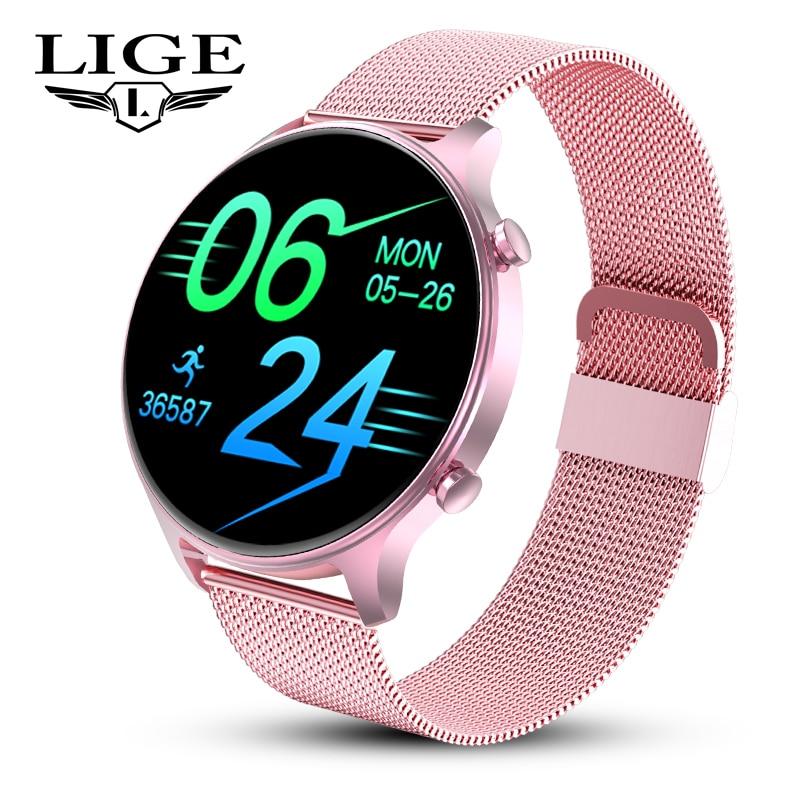 LIGE Fashion Women Smart Watch Fitness Tracker Custom Dial Pedometer Heart Rate Monitor Full Screen