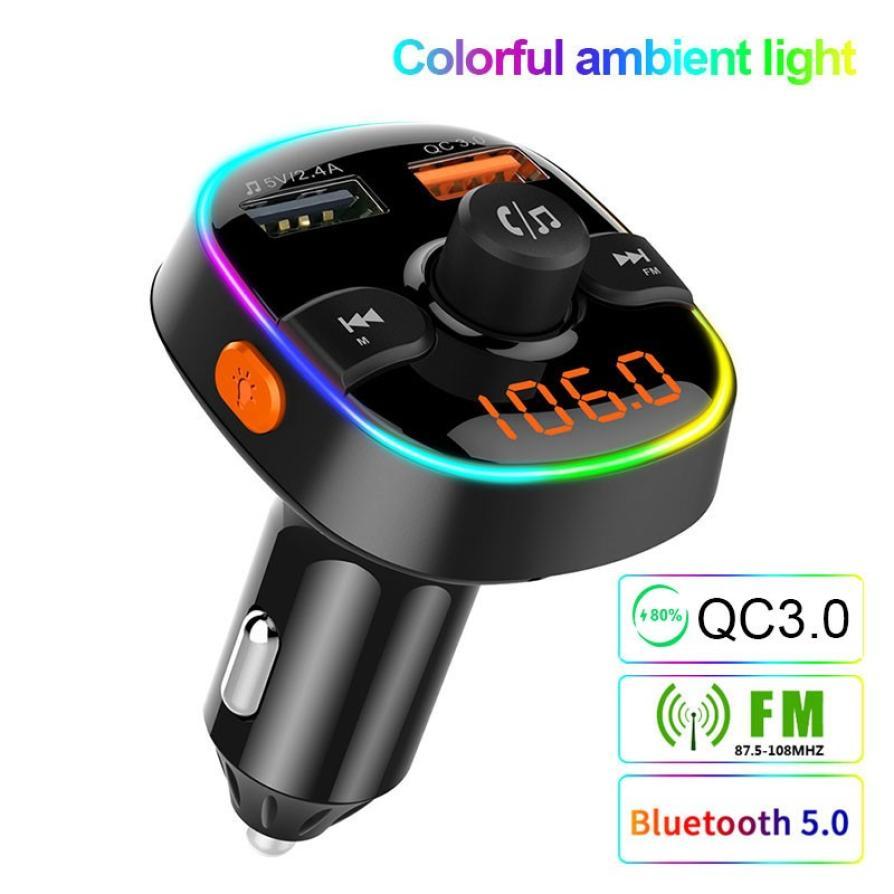 Colorido reproductor Bluetooth 5,0 Fm Transmisor coche Kit MP3 modulador cargador QC3.0 doble USB con LED Lattice pantalla fm zender