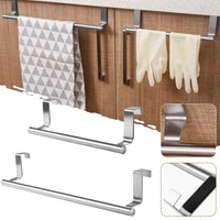 stainless steel towel rack over door punch free thickened bath towel holder bar bathroom kitchen accessories organization