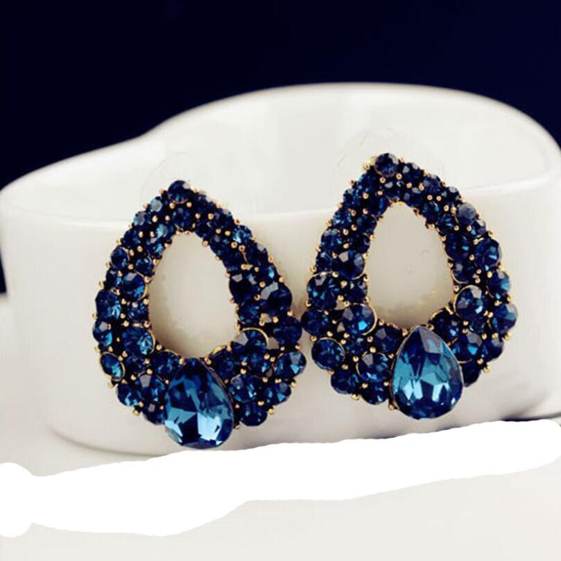 Joyería de moda novedosa de 2020, pendientes redondos de gota de cristal azul para mujeres, colgantes de gotas de agua para fiestas, joyería, pendientes de boda