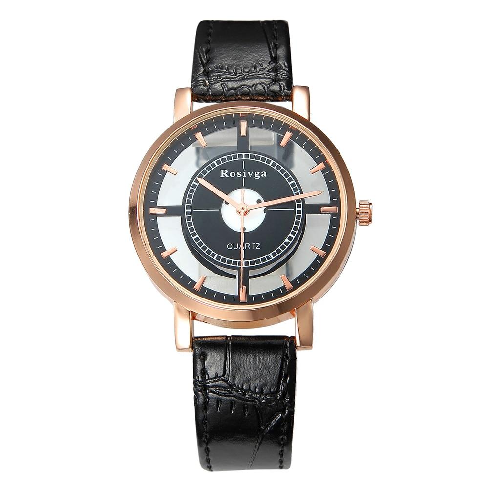 Мода мужчины женщины унисекс часы винтаж полые круглые циферблат кварц нет цифры искусственный кожа ремешок пара запястье часы зегарек дамски