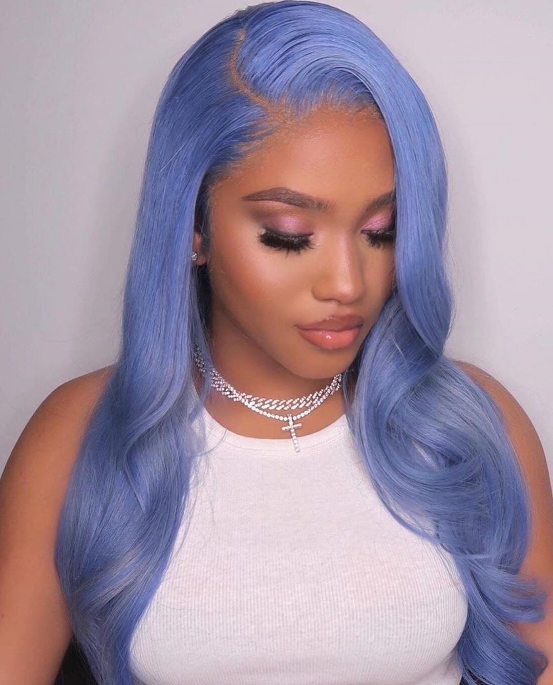 Water Blue Body Wave Light Blue Wavy Human Hair Wig Lace Front 180 Density