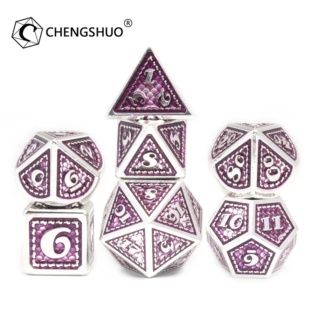 CHENGSHUO rpg dice set.Metal dice.New purple dragon dice, new design, more realistic dragon scales.Used for DND COC.D20 12 10 6
