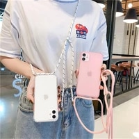 candy color strape cord chain phone case for iphone 11 pro max xr xs x max se 8 7 6s plus soft tpu clear shockproof phone cover