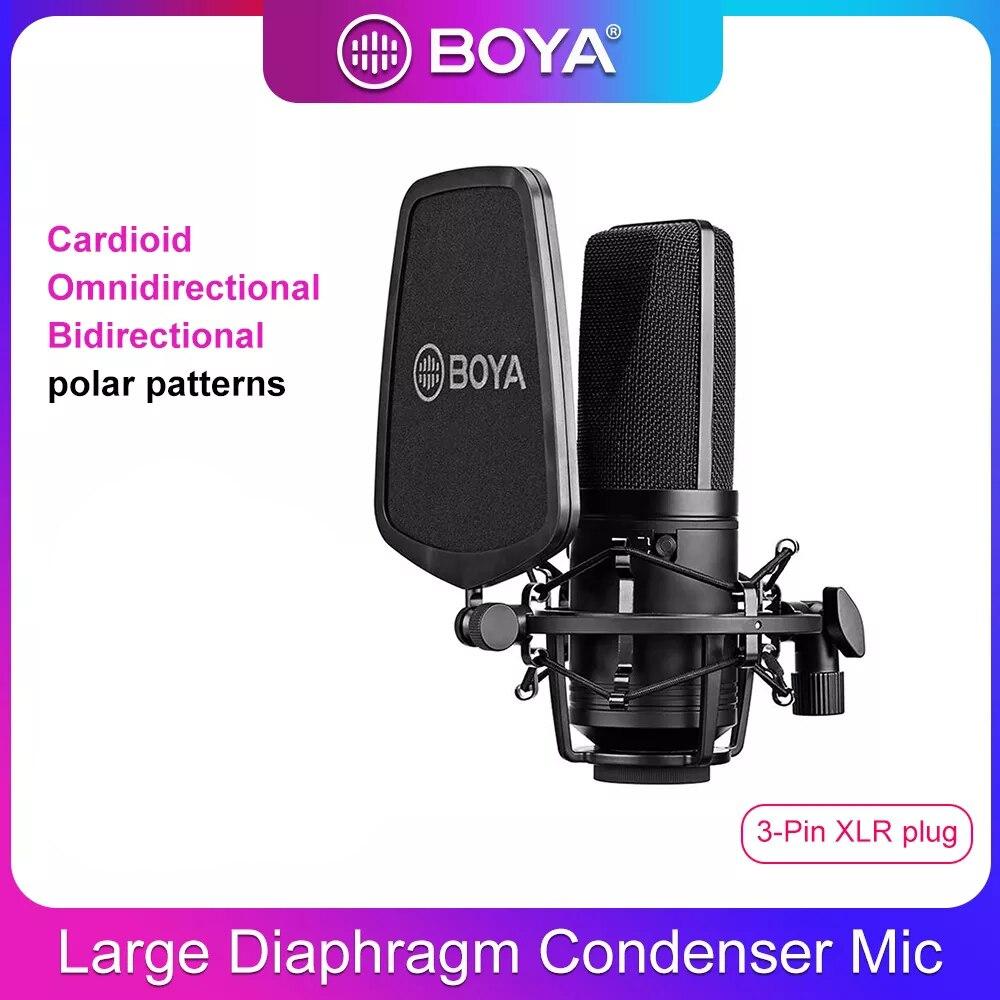 BOYA-ميكروفون مكثف احترافي M1000 ، كبير ، مرشح منخفض القطع ، ميكروفون قلبي ، للتسجيل المباشر ، استوديو الفيديو ، Vlog ، كاميرا الفيديو