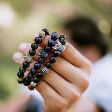 Shiny Stone Beads Crown Bracelet Handmade Bracelets For Men CZ Ball Women Charm Jewellery Friends Accessories Dropshipping