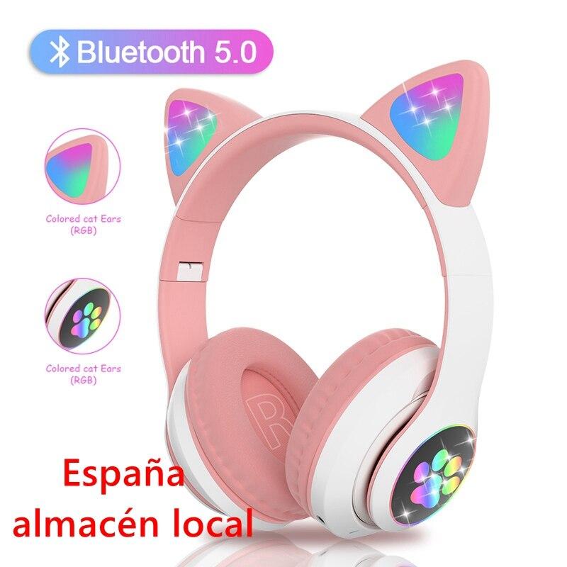 Orelhas de Gato Miúdo sem Fio Fones de Ouvido com Microfone Espanha Armazém Local Bonito Led Bluetooth Cartoon Meninas Música Capacete Transporte Rápido &