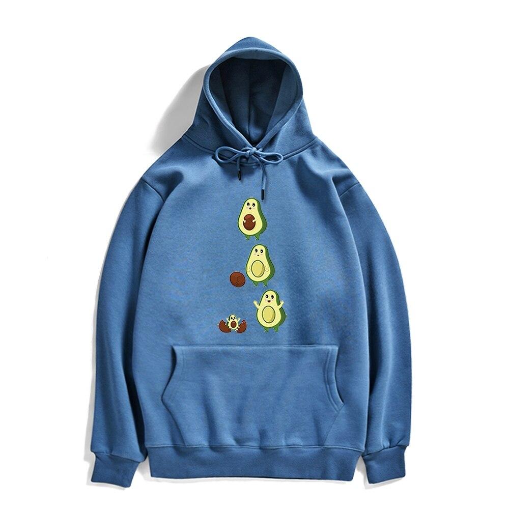 Толстовка мужская с капюшоном и принтом авокадо, теплый пуловер в стиле панк-стрит, свободная кофта с капюшоном, уличная одежда