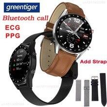 Greentiger L7 블루투스 통화 스마트 시계 남자 ECG PPG 심박수 혈압 모니터 IP68 방수 Smartwatch 안드로이드 IOS VS
