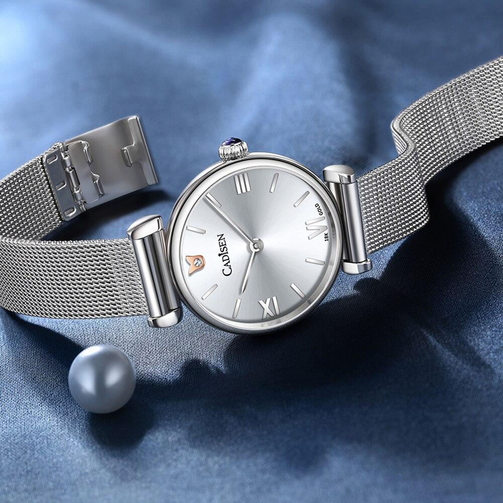 2021 CADISEN 18K GOLD Woman Watch Luxury Brand Stainless steel Mesh Belt Wristwatch 30M Waterproof Ultra Thin Dial Reloj Mujer enlarge