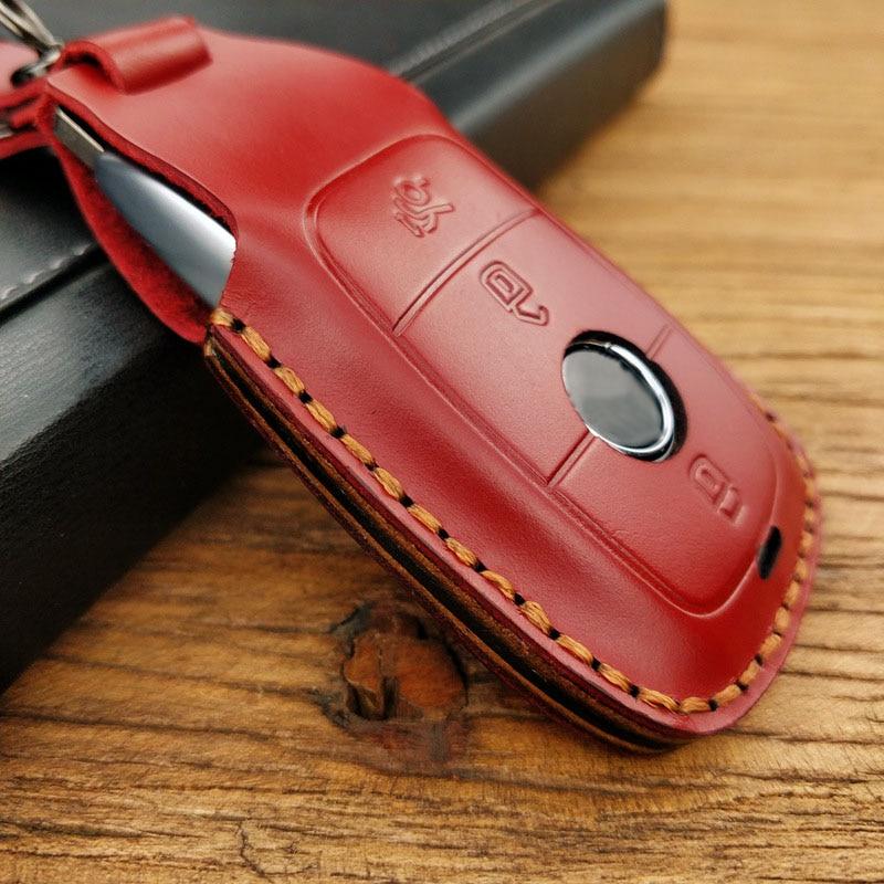 Funda de cuero para llave de coche, funda para llavero, carcasa adecuada para Mercedes Benz A B G S E C clase W205 W213 C217 W177 W247 C257 W167 W463