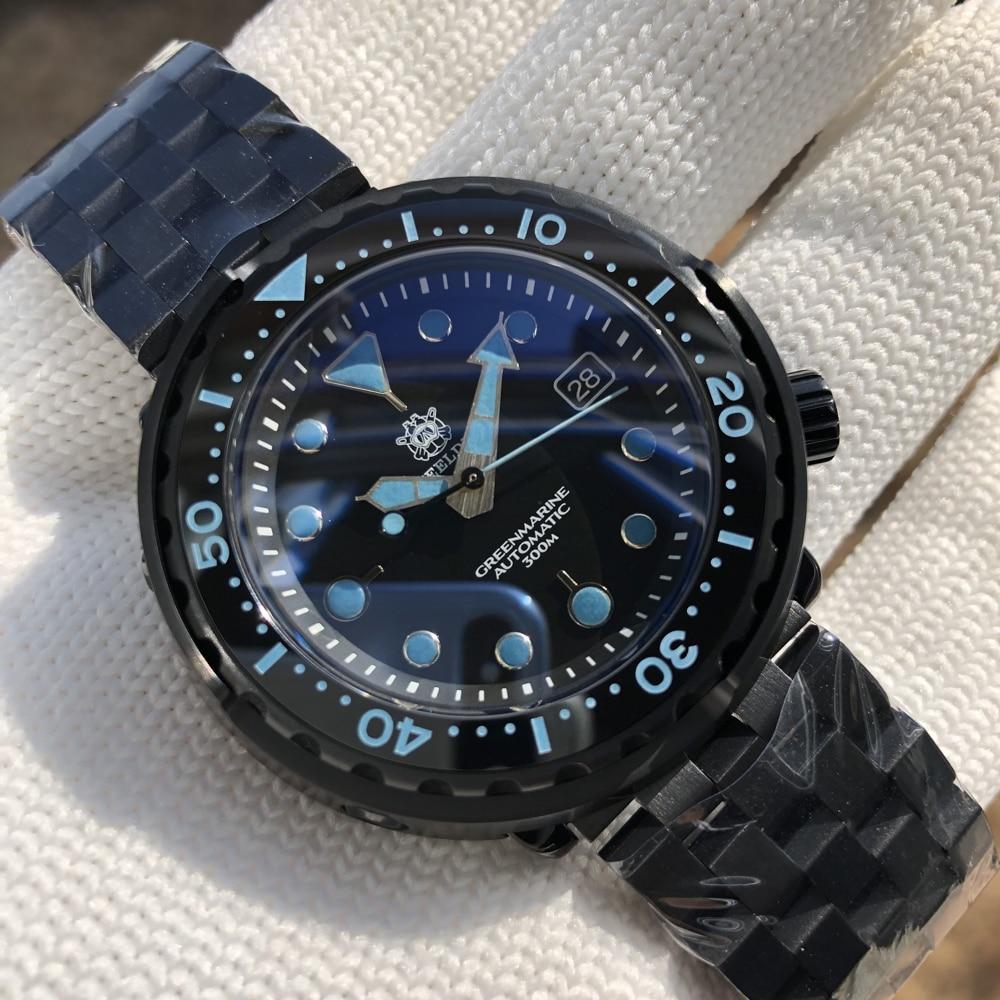 ساعة التونة steelالغوص اليابان حركة NH35 300 متر مقاوم للماء PVD وعاء من الستانليس ستيل الأسود مضيئة ساعة رياضية خمر ساعة أوتوماتيكية