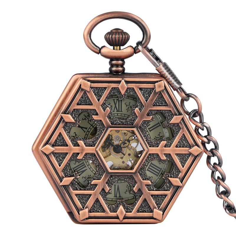 Bronze Red Copper Hexagone Shape Unisex Handwinding Mechanical Pocket Watch Skeleton Clock with Pendant Chain Roman Number Dial
