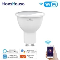 MoesHouse     ampoule LED RGB   CW   WW GU10  lampe intelligente  wi-fi  Tuya Smart Life  4 5W  variable  fonctionne avec Alexa Google Home  AC100-250V
