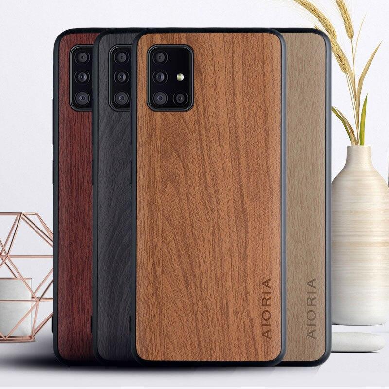 Funda para Samsung Galaxy A50, A40, A30, A10, A70, A71, A51, A31, A21S, A41, A11, M31, funda lujosa de cuero con patrón de madera, funda, carcasa, capa