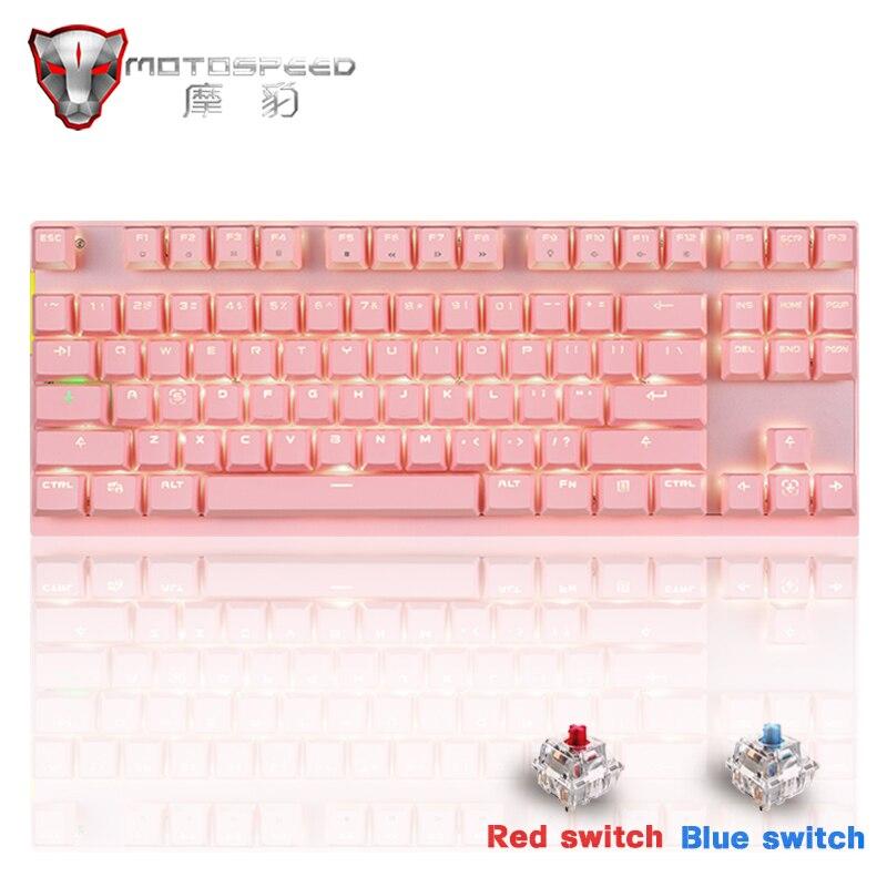 Популярная Беспроводная Механическая игровая клавиатура Motospeed GK82, 2,4 ГГц, светодиодный двойной режим подсветки 87 клавиш, мини-USB клавиатура ...