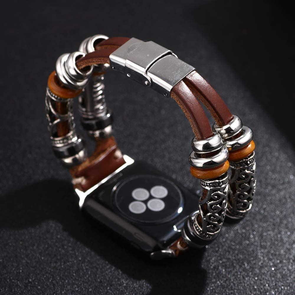 Pulseira de couro para apple watch band 44mm/40mm correa apple assistir série 5 4 3 artesanal dupla turnê pulseira iwatch banda 38mm/42mm