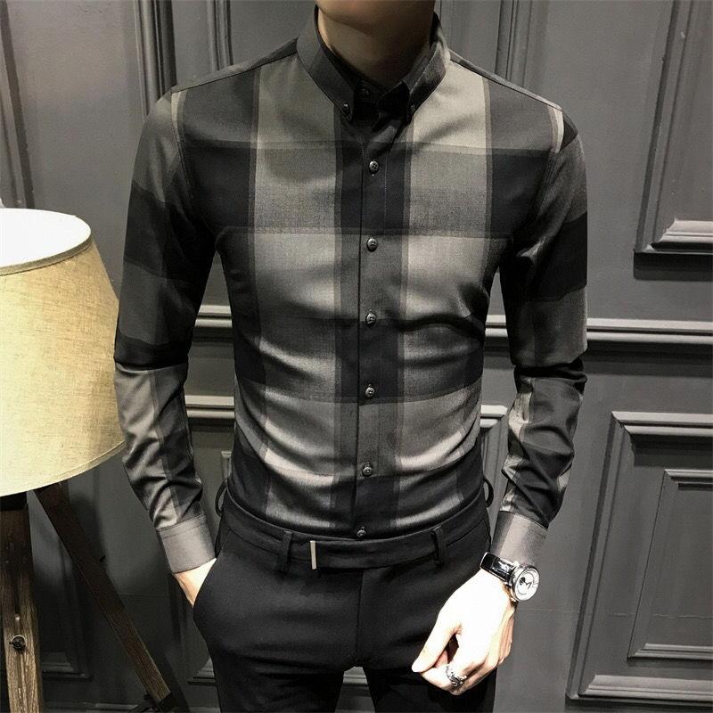 Осень 2021, клетчатая рубашка, Мужская Корейская тонкая Модная Повседневная Деловая Мужская рубашка с длинным рукавом