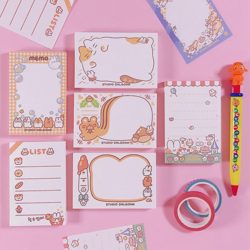 100 hojas/lote Kawaii coreano ardilla tostado Memo Pad N veces notas adhesivas portátil Bloc de notas escuela Oficina suministro