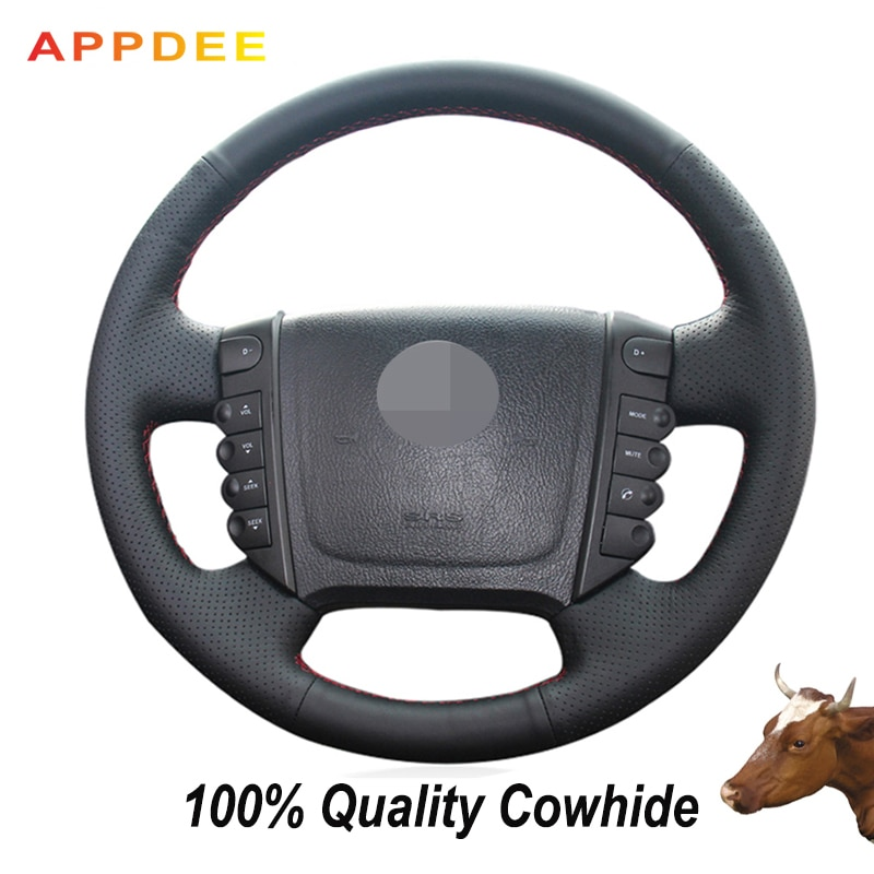 APPDEE, cubierta de volante de cuero genuino, negro de punto, para Ssangyong Rexton W Rodius