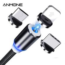 ANMONE Magnetic Micro USB Cable Magnet Plug Type C Charge 3 In 1 Cord for iPhone Huawei Samsung Xiao