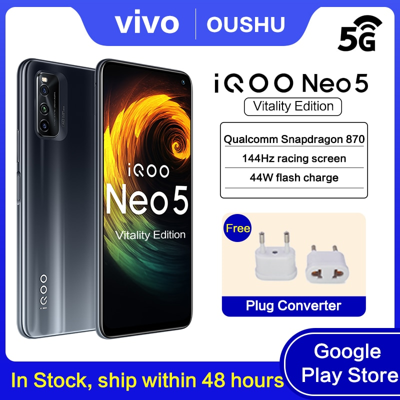 Перейти на Алиэкспресс и купить Оригинальный vivo IQOO Neo5 жизненную силу издание 5G мобильного телефона устройство, док-станция Qualcomm Snapdragon 870 144 Гц гоночный экран 44W мгновенная з...