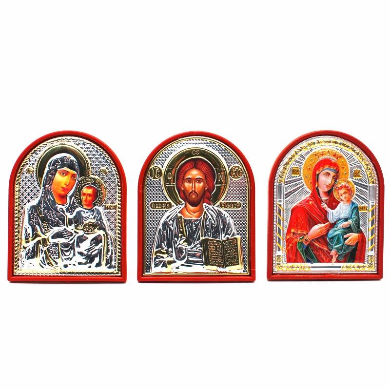 Utensilios de iglesia con icono ortodoxo, Lod Jesús, virgin Mary Icon
