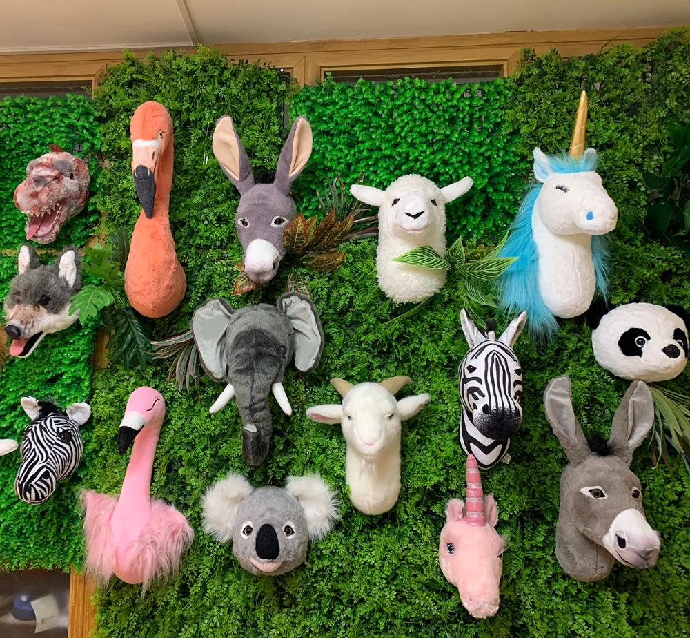 2021 Factory Wholesale INS Style Stuffed Animal Head Wall Decoration Lifelike Funny  Printed  Kids B