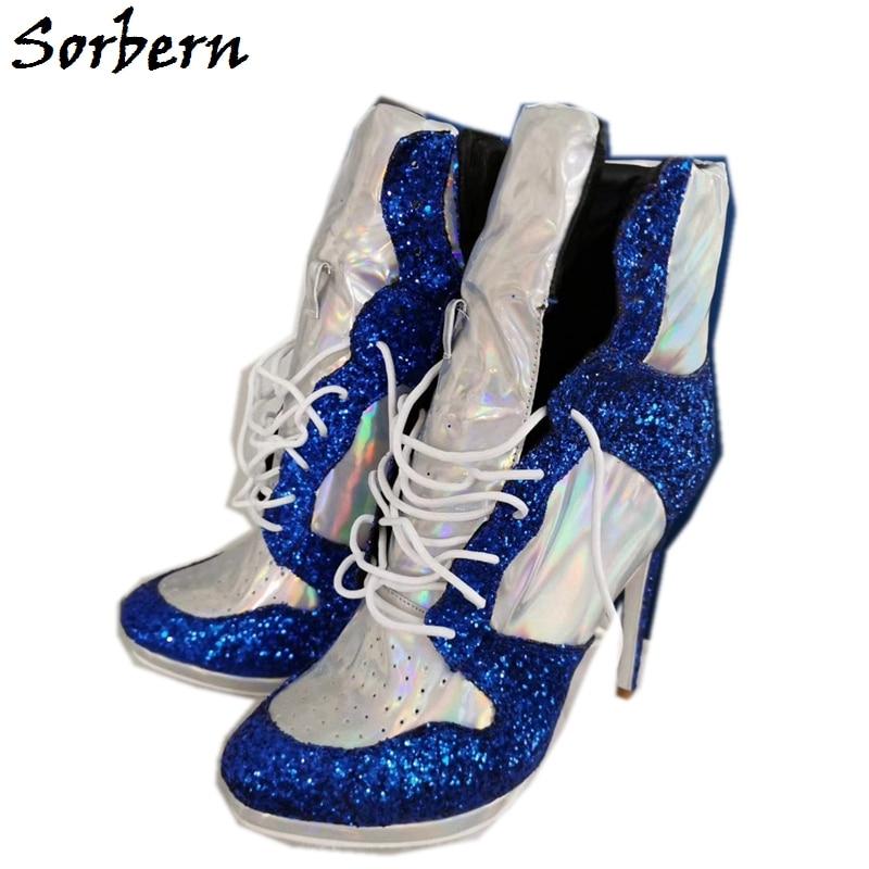 Sorbern Holo plata alto talón zapatilla botines tobillo alto Cutom colores Stilettos de plataforma tamaño grande chicos zapato unisex señoras