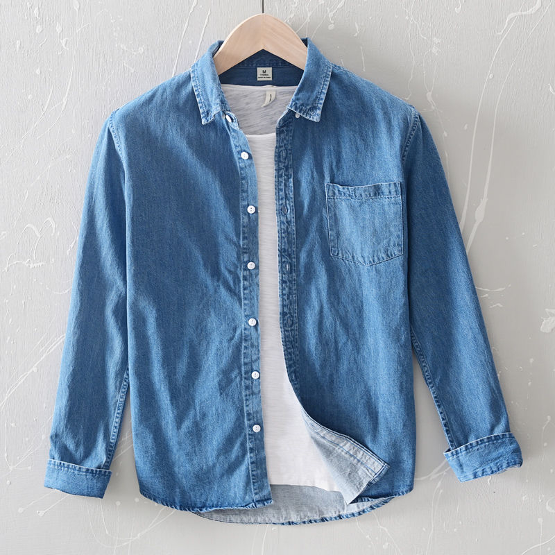 100% Cotton Excellent Soft Denim Shirt Men Clothing Chemise Homme Turn-down Collar Casual Long Sleeve Shirts