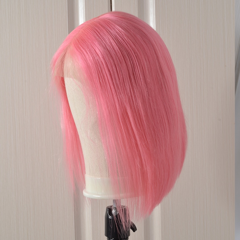 150% Pink Lace Front Human Hair Wig Brazilian Pink Pink Short Bob wig Nice Lace Wigs For Black Woman