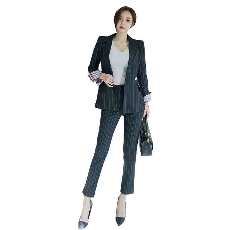 Women suit set professional pants new style OLtemperament fashion striped casual trousers women two piece outfits