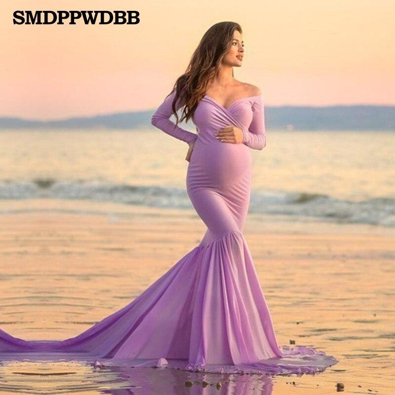 Vestidos de maternidad de sirena para sesión de fotos, vestido de embarazo para mujeres embarazadas, accesorios de fotografía, vestido de maternidad Maxi de manga larga Sexy
