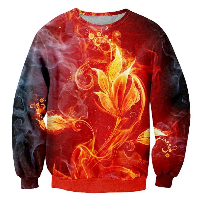 Cool 3D impresión baño fuego rebirth flor jerseys hombres mujeres planta impresa sudadera unisex pareja Casual Custom hip hop pullover